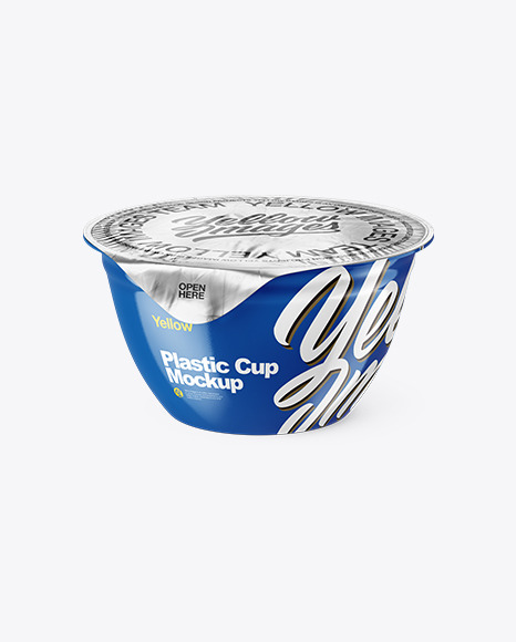 Download Glossy Cup With Foil Lid Psd Mockup High Angle Shot Yellowimages