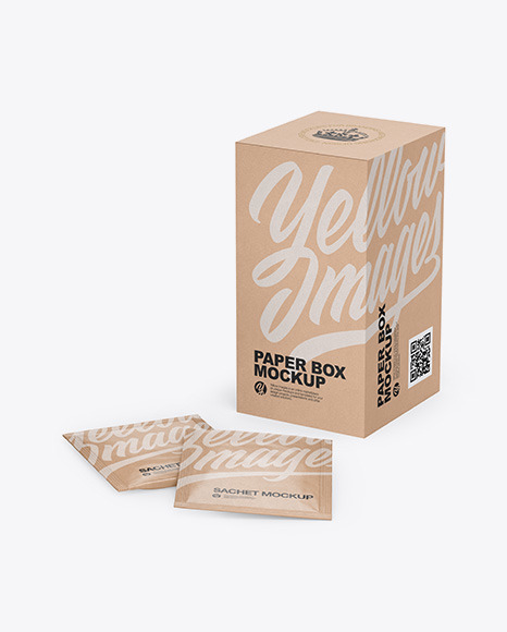 Download Box With Kraft Sachets Psd Mockup Yellowimages