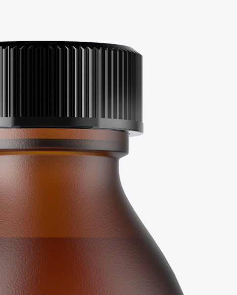 Download Frosted Amber Bottle Psd Mockup Yellow Images