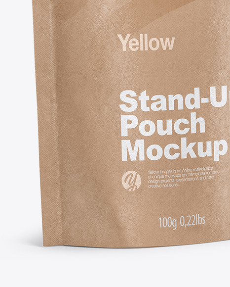 Download Kraft Stand Up Pouch Psd Mockup Halfside View Yellowimages
