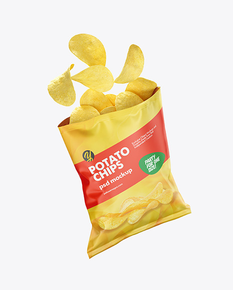 Download Matte Bag With Corn Flakes Psd Mockup Yellow Images