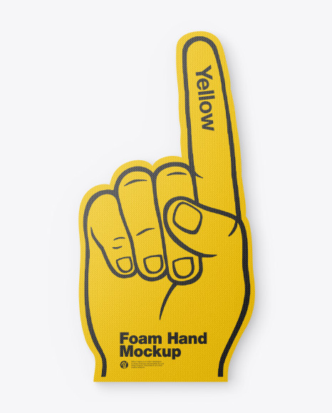 Direct download for vip member: Fabric Sports Fan Foam Hand Mockup In Outdoor Advertising Mockups On Yellow Images Object Mockups