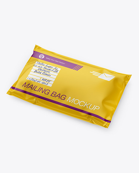 582+ mailing bag mockup all bags are customizable from all sides. Glossy Mailing Bag Mockup Half Side View In Bag Sack Mockups On Yellow Images Object Mockups