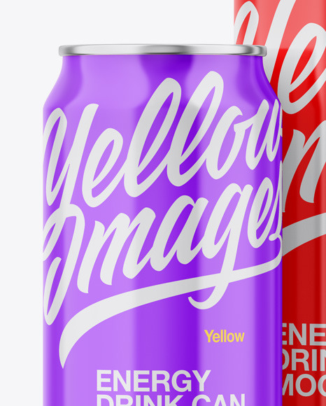 Download Glossy Metallic Cans In Shrink Wrap Psd Mockup Yellow Images