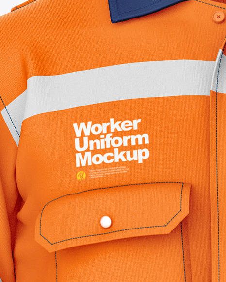 Signs, branding, print, fashion, apparel & Worker Uniform Mockup Front View In Apparel Mockups On Yellow Images Object Mockups