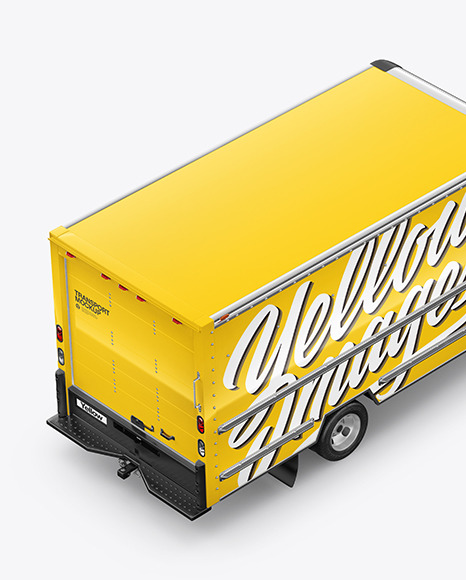 Download Box Truck Mockup Yellow Images