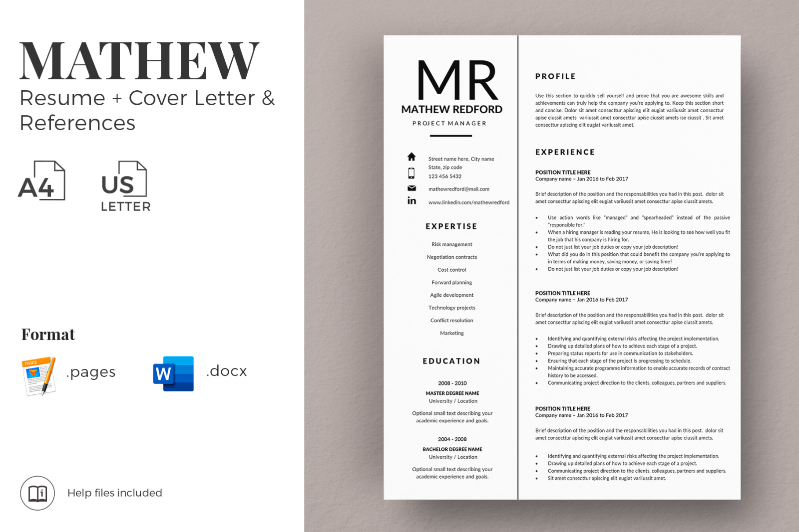 Bring your ideas to life with microsoft 365. Minimalist Resume Cv For Word Mac Pages Project Manager Resume Cover Letter Instant Download In Resume Templates On Yellow Images Creative Store