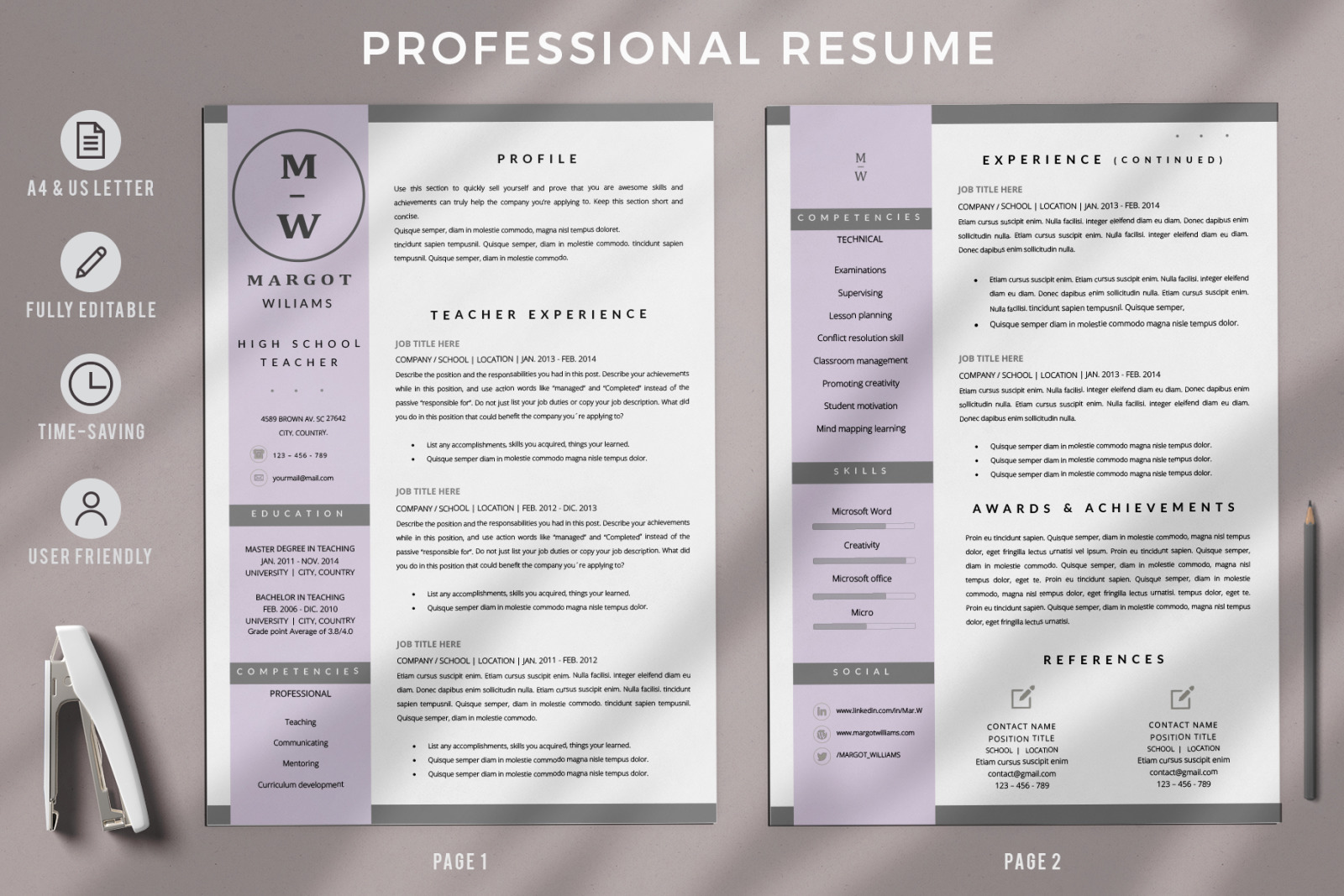 High School Teacher Resume Template For Microsoft Word