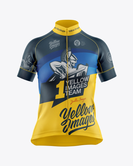 Download Women's Cycling Jersey Mockup in Apparel Mockups on Yellow ...