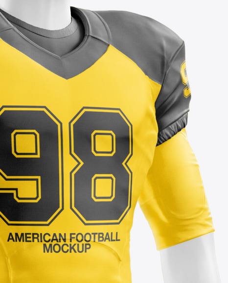 Download American Football Kit Mockup With Mannequin Back View Yellow Images