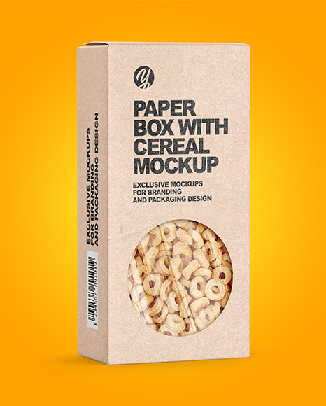 Download Kraft Paper Box with Breakfast Cereal Mockup in Box ...
