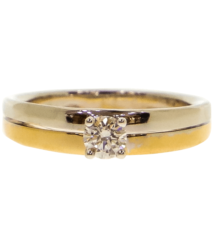 Two Tone Diamond Solitaire Engagement Ring Image