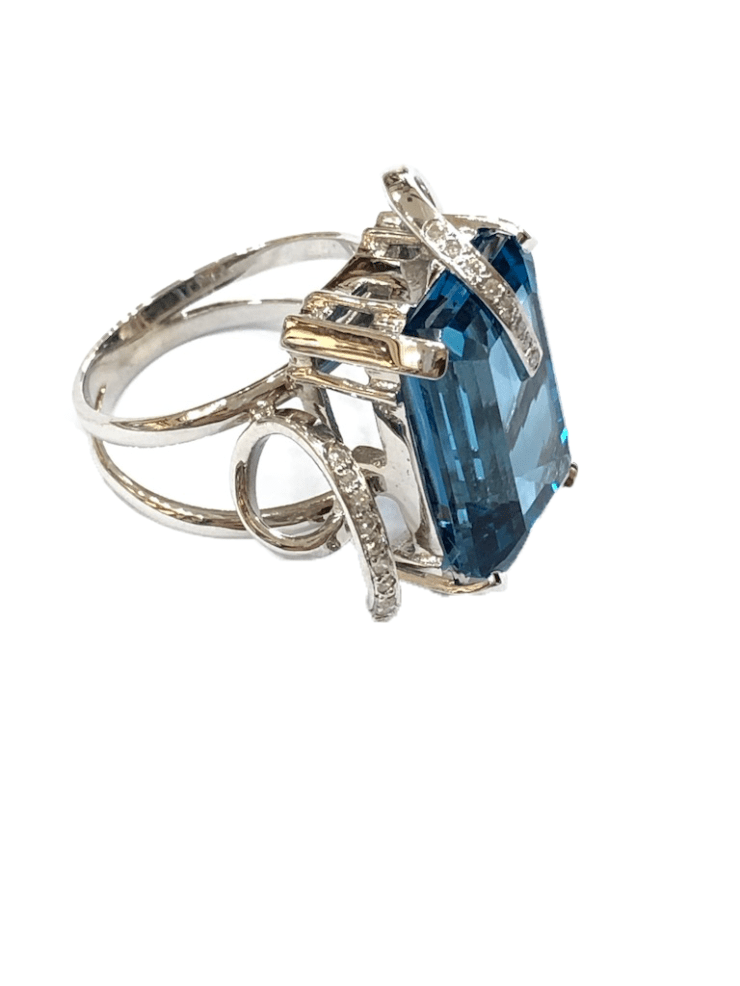 Ring With London Blue Topaz and Diamonds Image