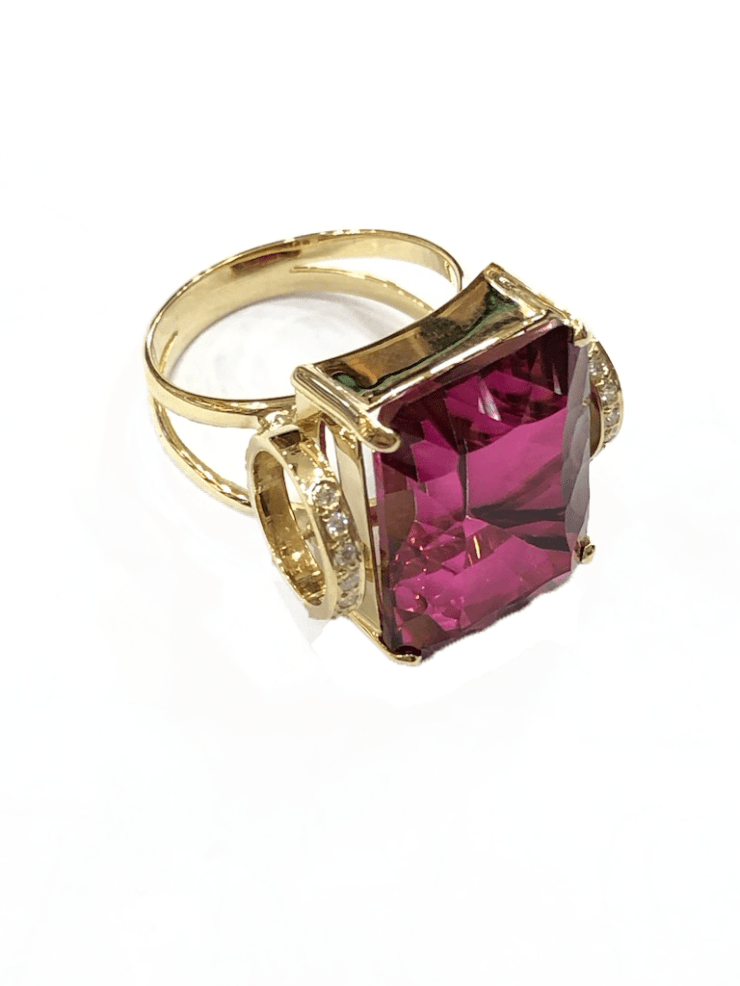 Ring with Rhodolite and Diamonds Image