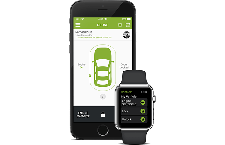 drone mobile app for smartphone remote car starter