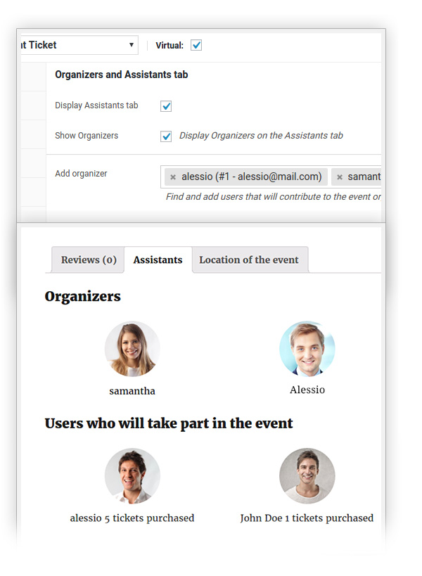 Organizers and Assistants tab