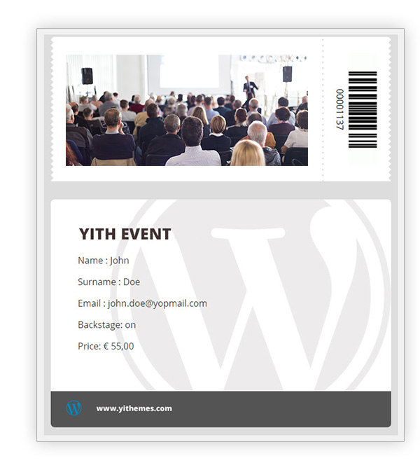 Bar code in event ticket
