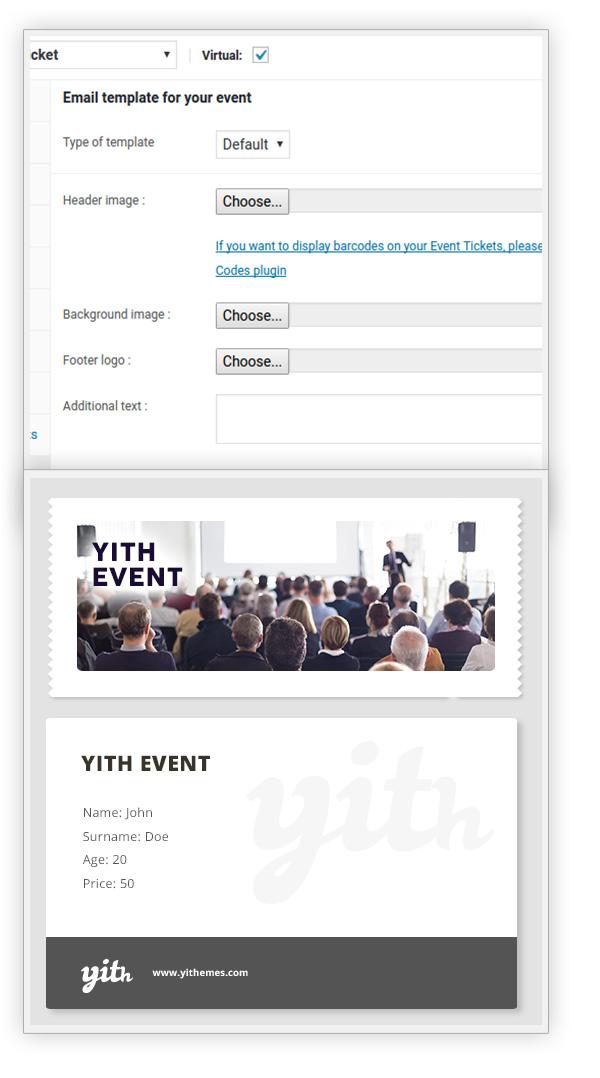 Customize event ticket