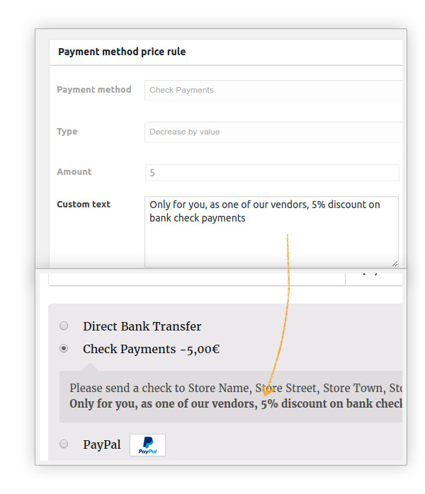 Custom text for payment method
