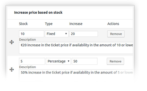 Increase price based on stock