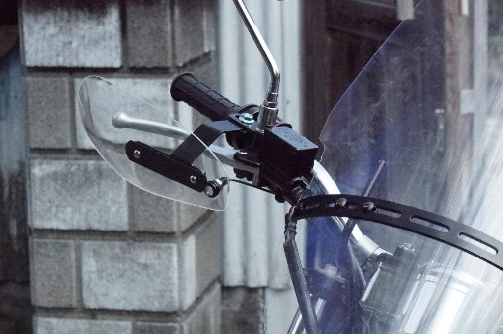バイク汎用ハンドガード取り付け方法 HondaFTR223カスタム 風除け 寒さ対策