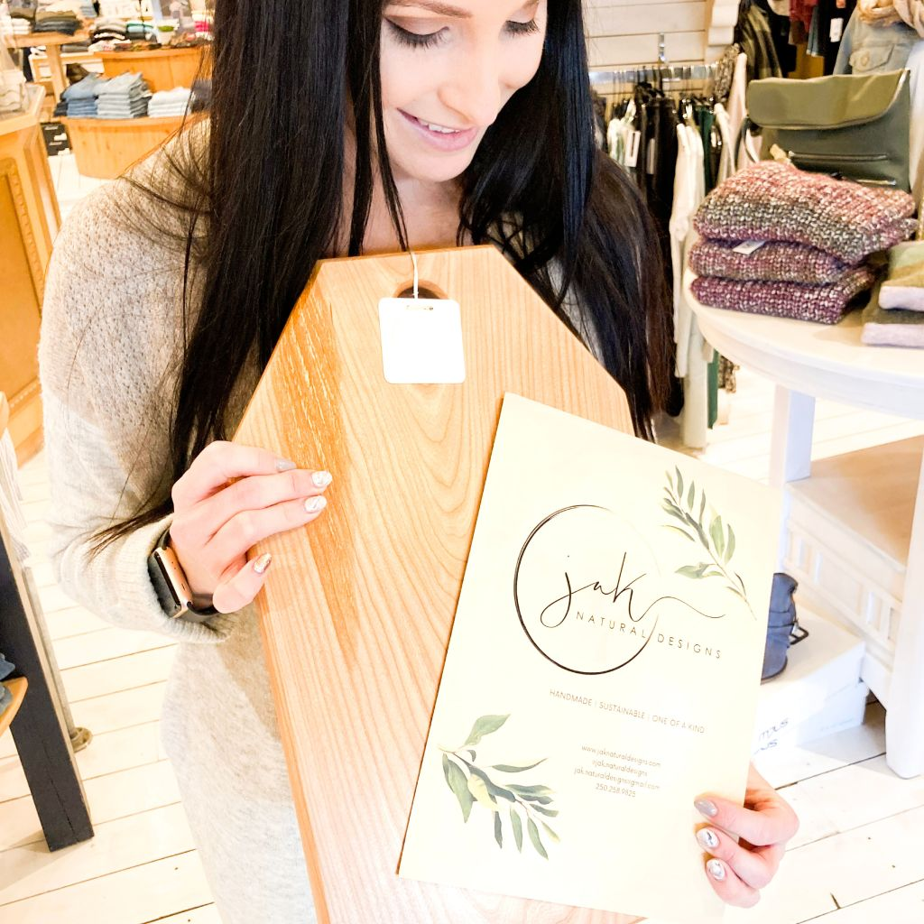 Meagan from Main Street Clothing showing off Jak Natural Designs