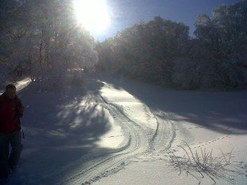 Утро 24 января до укатки трассы снегоходом