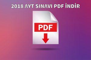 2018 AYT SINAVI PDF İNDİR