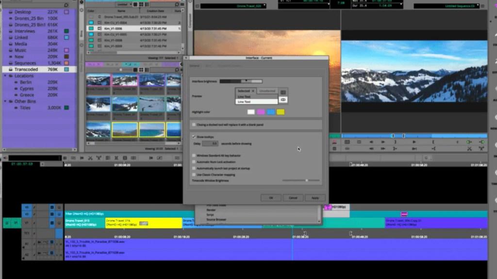 UI customization on Avid Media Composer 2021.3. Picture: Avid