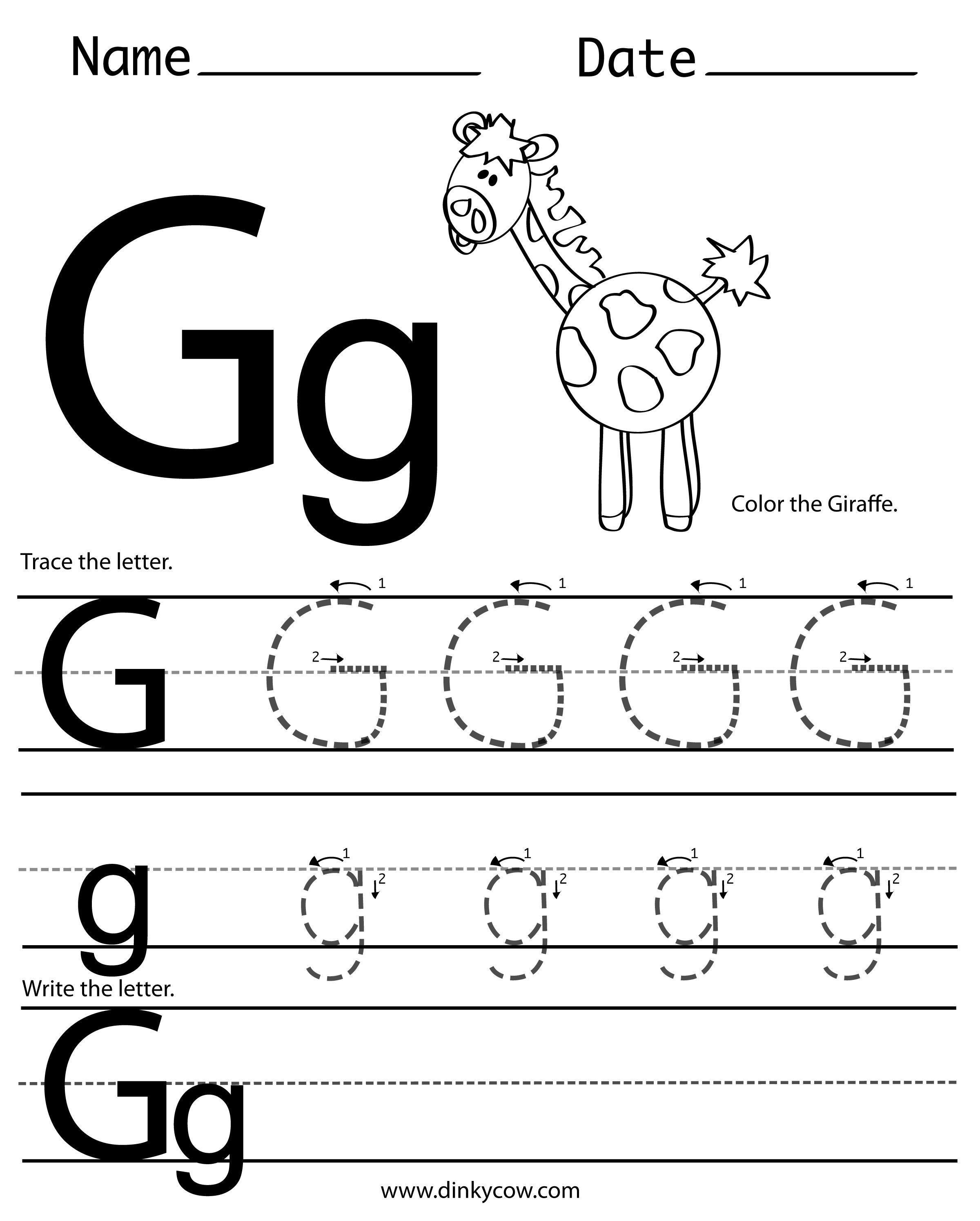 Letter G Tracing Worksheets For Preschool Letter Worksheets
