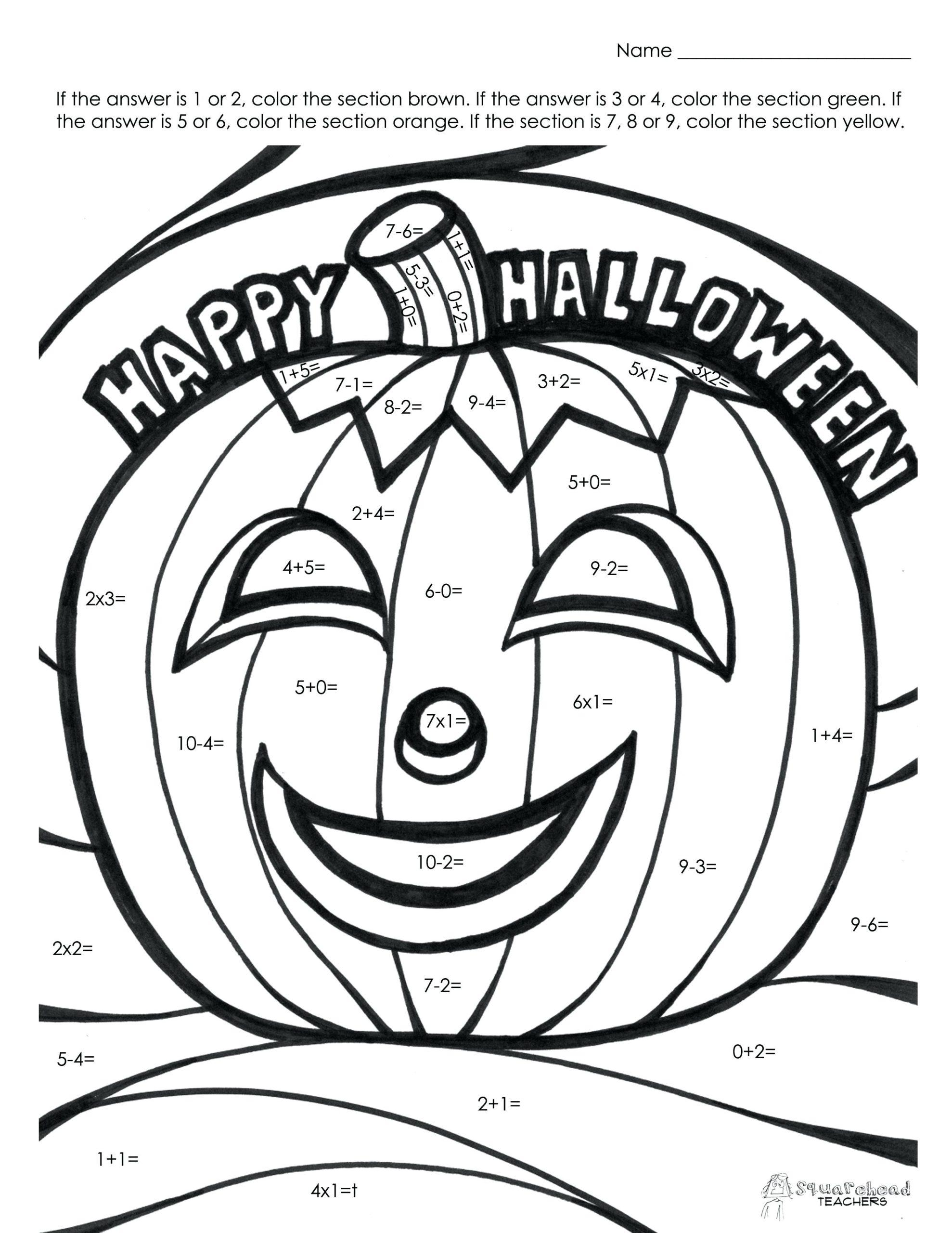 Printable Halloween Math Worksheets For 1st Grade 7