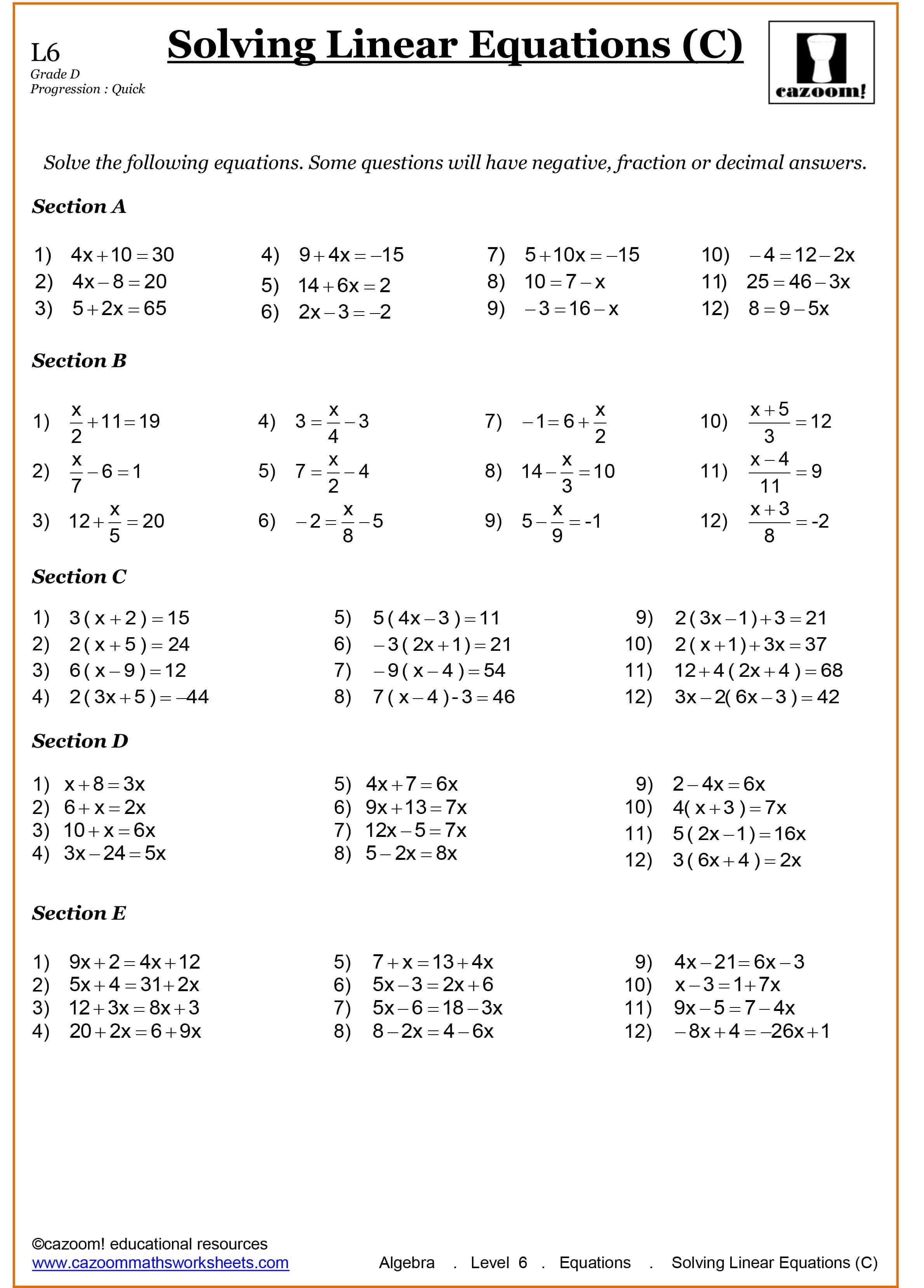 Algebra Worksheets Year 9 Printable Letter Worksheets