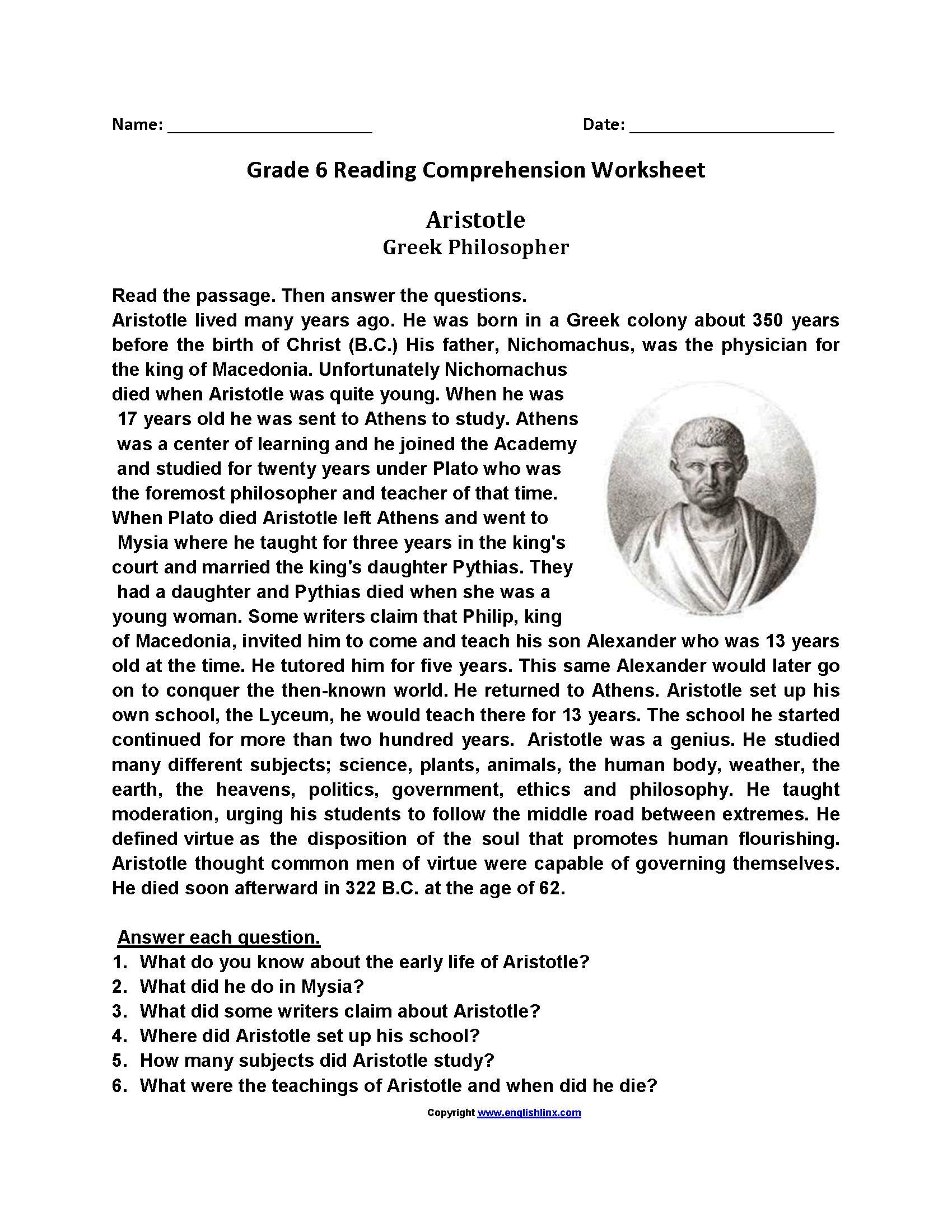 Free Printable Reading Worksheets For Grade 6 Letter