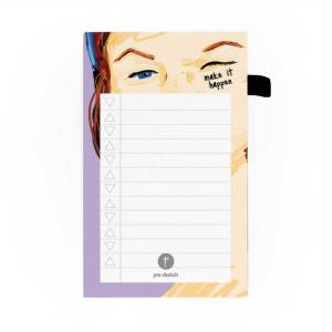 mini magnetic notepad purple to do list tear paper that says make it happen with sara illustration