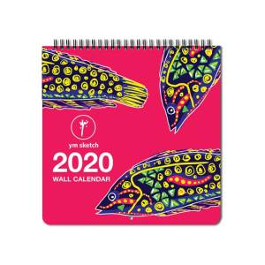 front cover of 2020 fun wall calendar ymsketch . it can be hung on wall to keep track of monthly appointments.