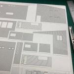 建築模型製作中