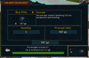 Test buy iron bar in the grand exchange for later flipping