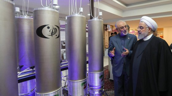 Iranian President Hassan Rouhani on a tour of one of the country's nuclear reactors in the framework