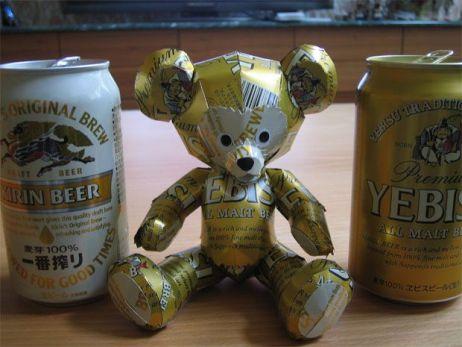 Urso feito de latinhas - esculturas feitas com latinhas
