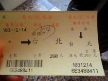 Ticket de bus jusqu'à Taichung, environ 5 euros
