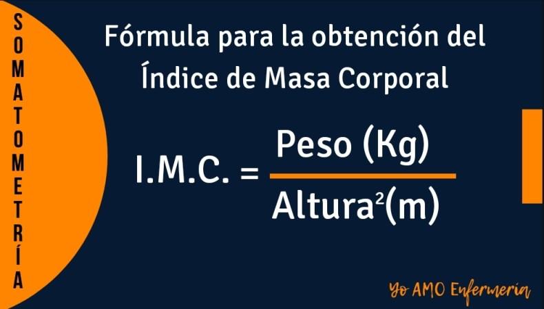 INDICE DE MASA CORPORAL IMC formula
