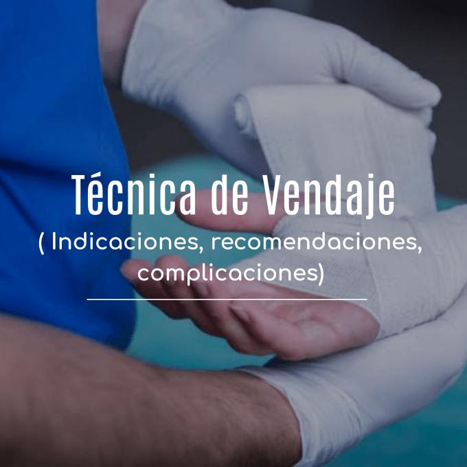 La técnica de vendaje es un procedimiento que consistente en envolver una parte del cuerpo cubriendo lesiones cutáneas e inmovilizando lesiones osteoarticulares