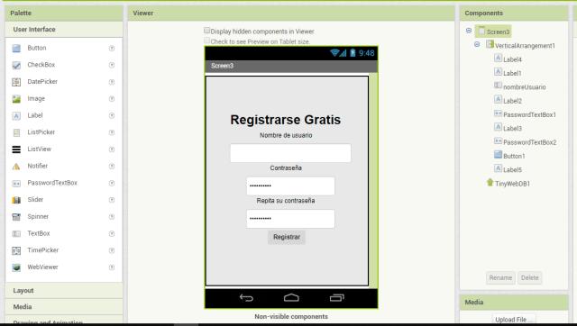 registrarse app inventor