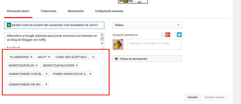 GENERADOR DE TAGS O ETIQUETAS PARA VIDEOS DE YOUTUBE