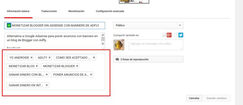 Etiquetas o tags para videos de Youtube