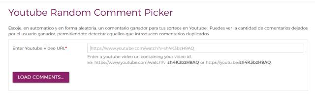 pagina para seleccionar un comentario al azar en un video de youtube
