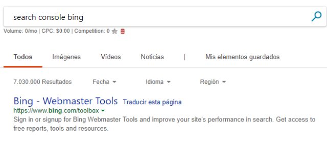 search console de bing