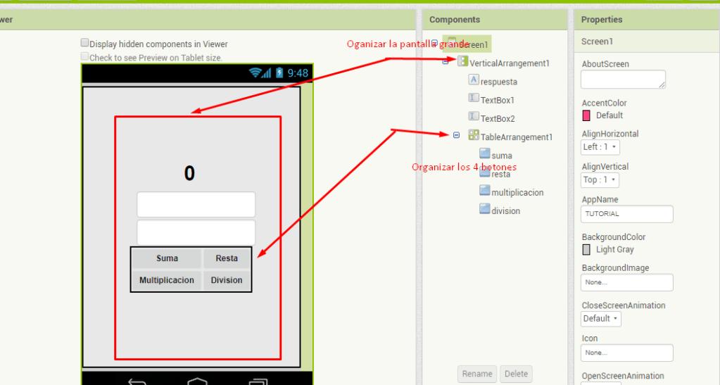 organizar botones y elementos en app inventor con layouts