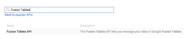 fusion tables en app inventor