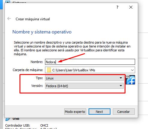 configuración fedora virtualbox